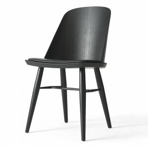 Synnes Upholstered Dining Chair - Black/Black Leather