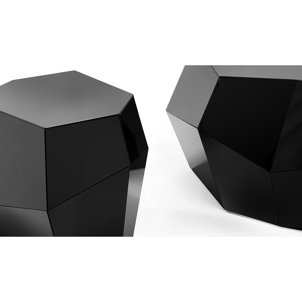 Three Rocks Low Table Black Gl