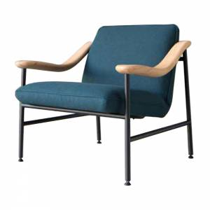H. Russell Oak Lounge Chair - Blue