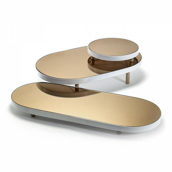 Studio Simple Long Oval Mirror Tray - White