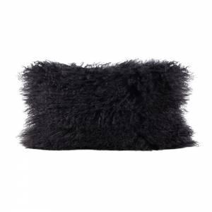 Tibetan Lamb Rectangle Pillow - Charcoal