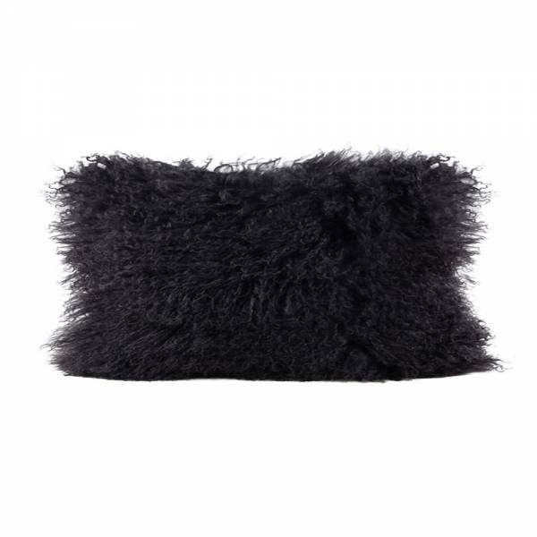 Tibetan Lamb Rectangle Pillow - Charcoal
