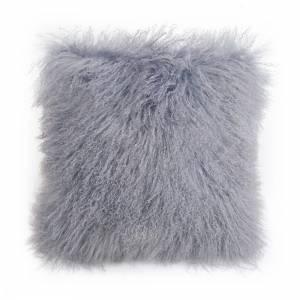 Tibetan Lamb Square Pillow - Dove