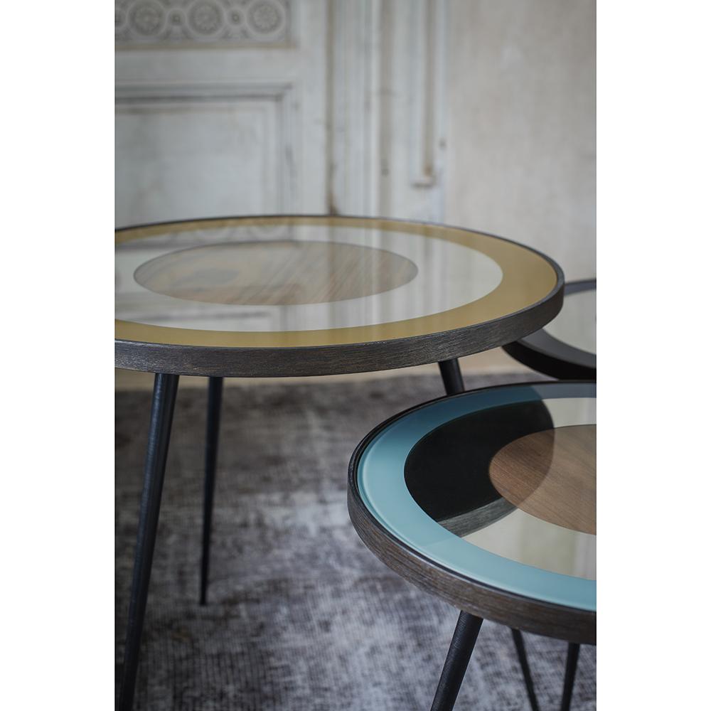Blue Bullseye Side Table