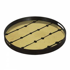 Brown Dots Glass Tray