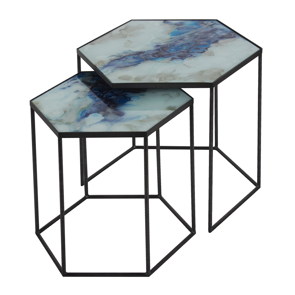 Cobalt mist organic hexagon side table set