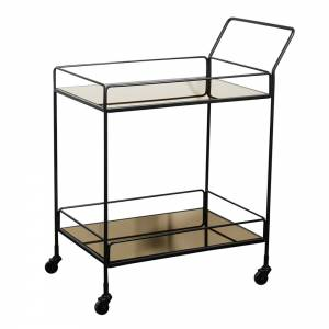 Dixon Bar Cart - 2 Bronze Mirror Shelves
