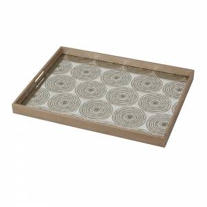 Gold Multi Beads Mirror Tray