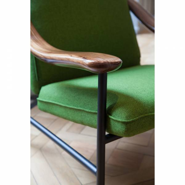 H. Russell Walnut Lounge Chair - Green