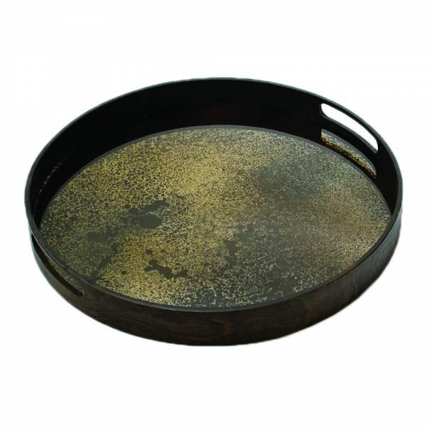 Heavy Aged Bronze Mirror Round Tray