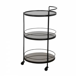 Lucy Bar Cart - 3 Charcoal Mirror Shelves