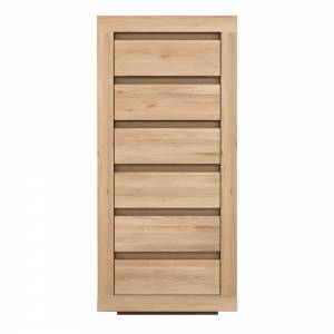 Oak Flat chest of drawers - 6 drawers