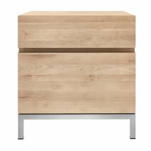Oak Ligna bedside table - 1 door hinge right - 1 drawer