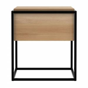 Oak Monolit bedside table - 1 drawer - Black