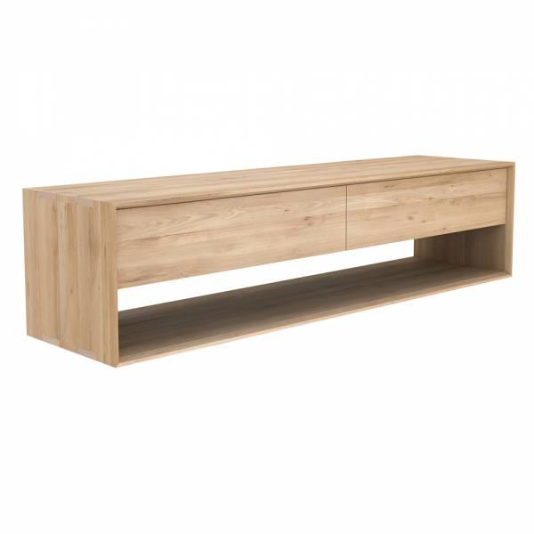 Oak Nordic TV cupboard wide - 1 flip-down door - 1 drawer