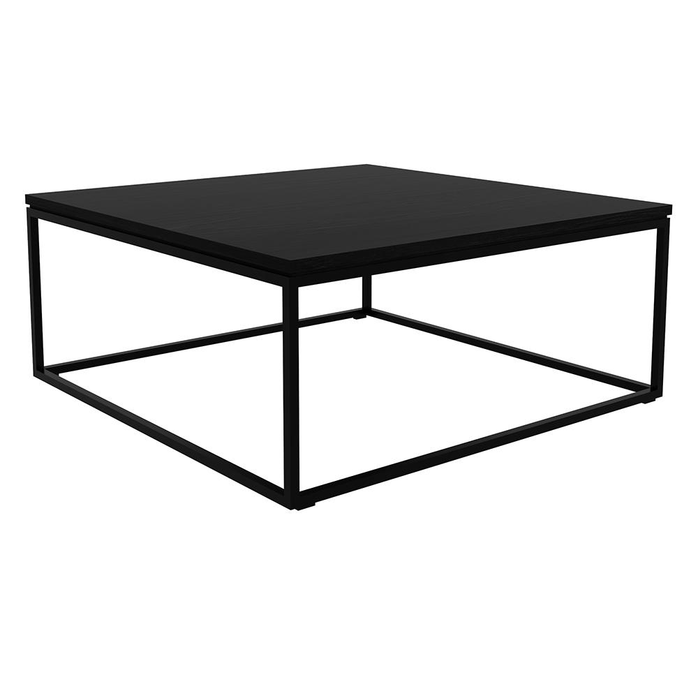 Oak Coffee Table Black Metal