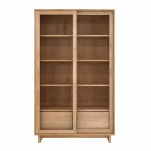Oak Wave book rack - 2 sliding glass doors - 2 drawers