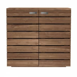 Teak Horizon shoe rack - 2 doors - 1 drawer (inside) - FSC 100%