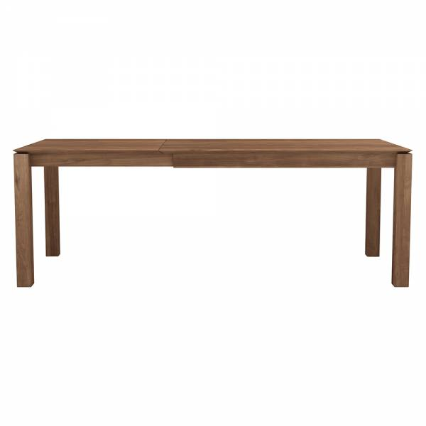 Teak slice extendable dining table