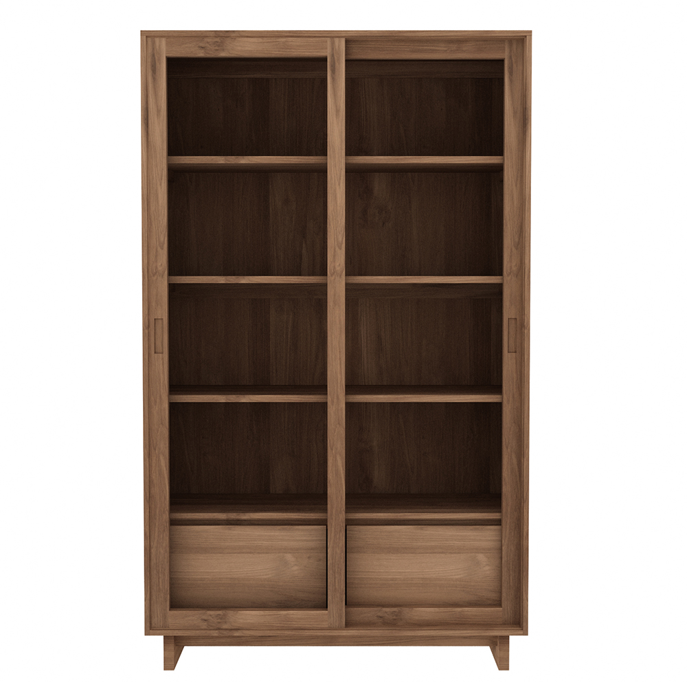Teak Wave Book Rack   2 Sliding Glass Doors   2 Drawers   FSC 100%