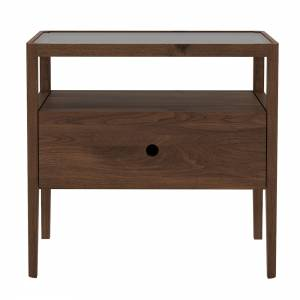 Walnut Spindle bedside table - 1 drawer