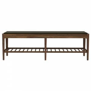 Walnut Spindle bench - with upholstery