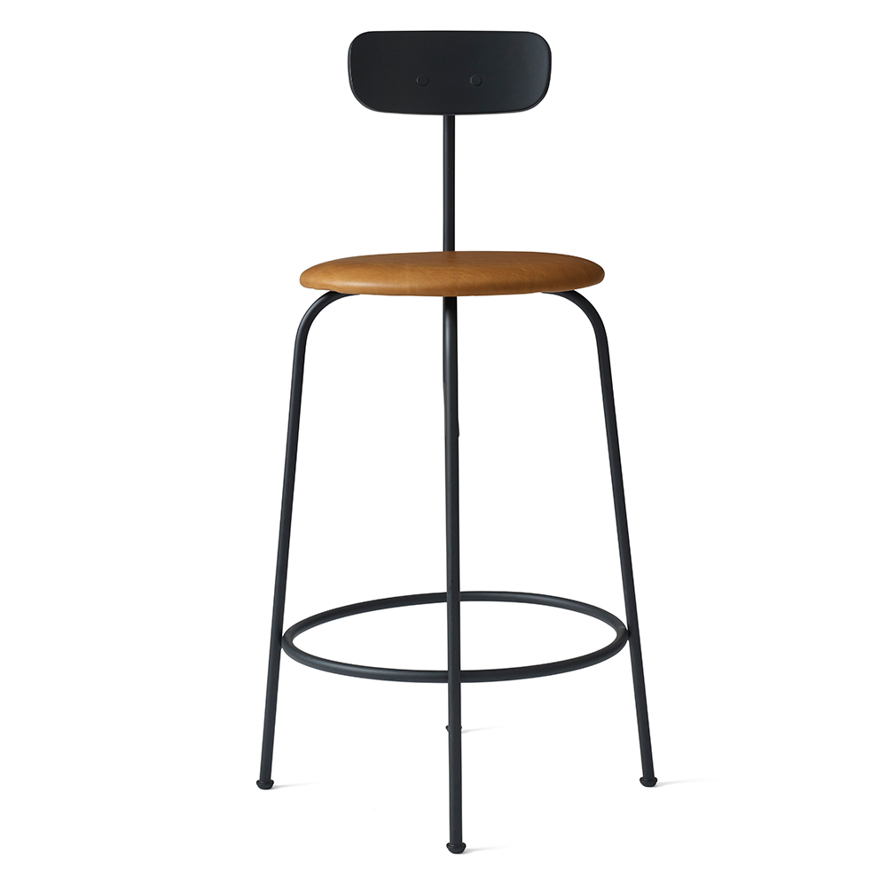 Wholesale Interiors Cognac Dark Brown Leather Bar Stool: Afteroom Upholstered Counter Chair