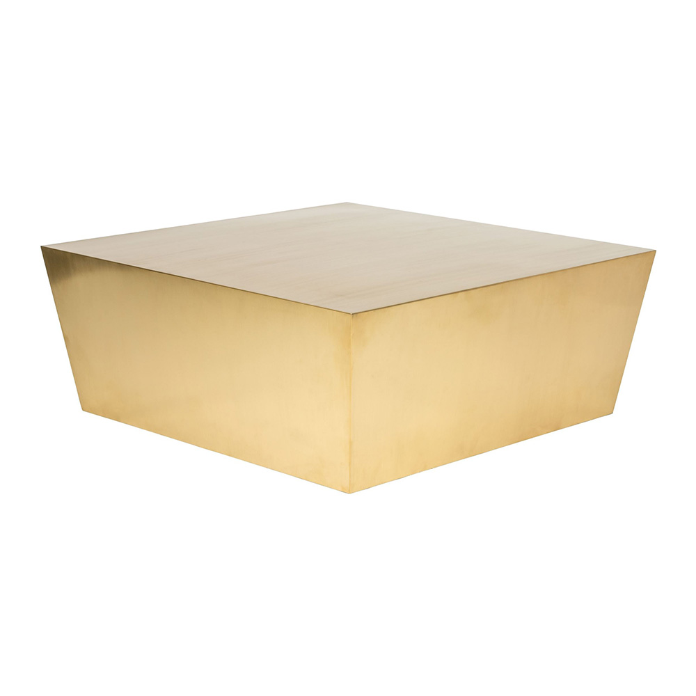cube coffee table – brushed gold – rouse home Cube Coffee Table
