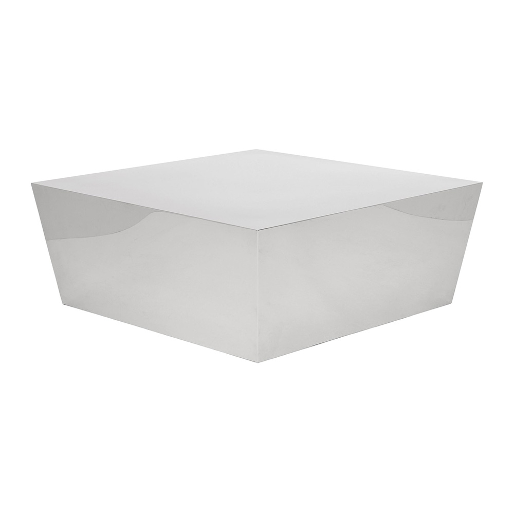 cube coffee table – polished silver – rouse home Cube Coffee Table