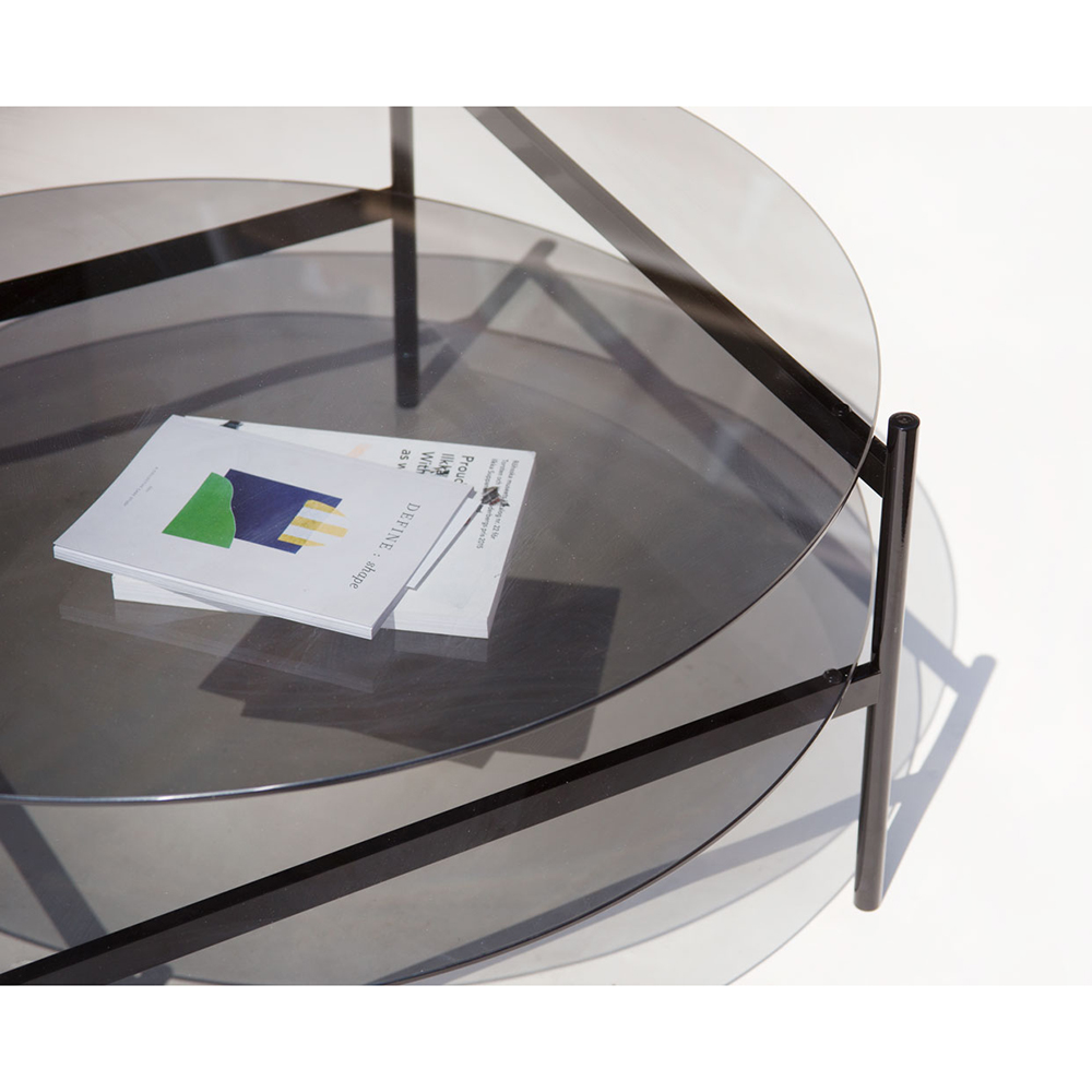 Duotone Coffee Table Round Black Smoked Glass Rouse Home