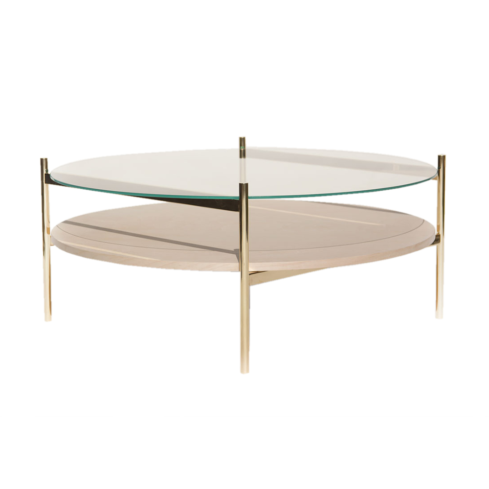 Duotone Coffee Table   Round Brass, Clear Glass, Birch