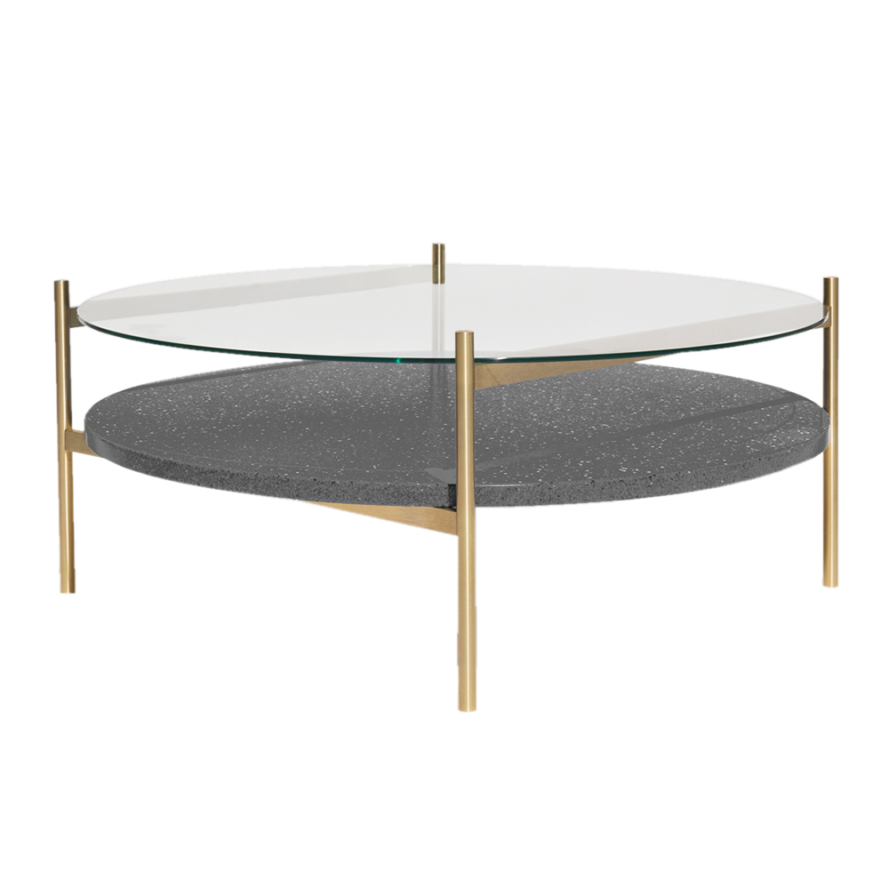 - Duotone Coffee Table – Round Brass, Clear Glass, Black Mosaic