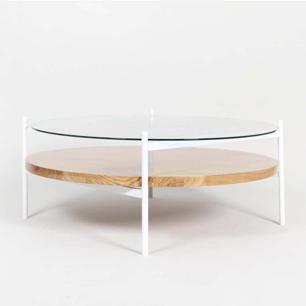 Duotone Coffee Table Round White Clear Gl Ash Wood
