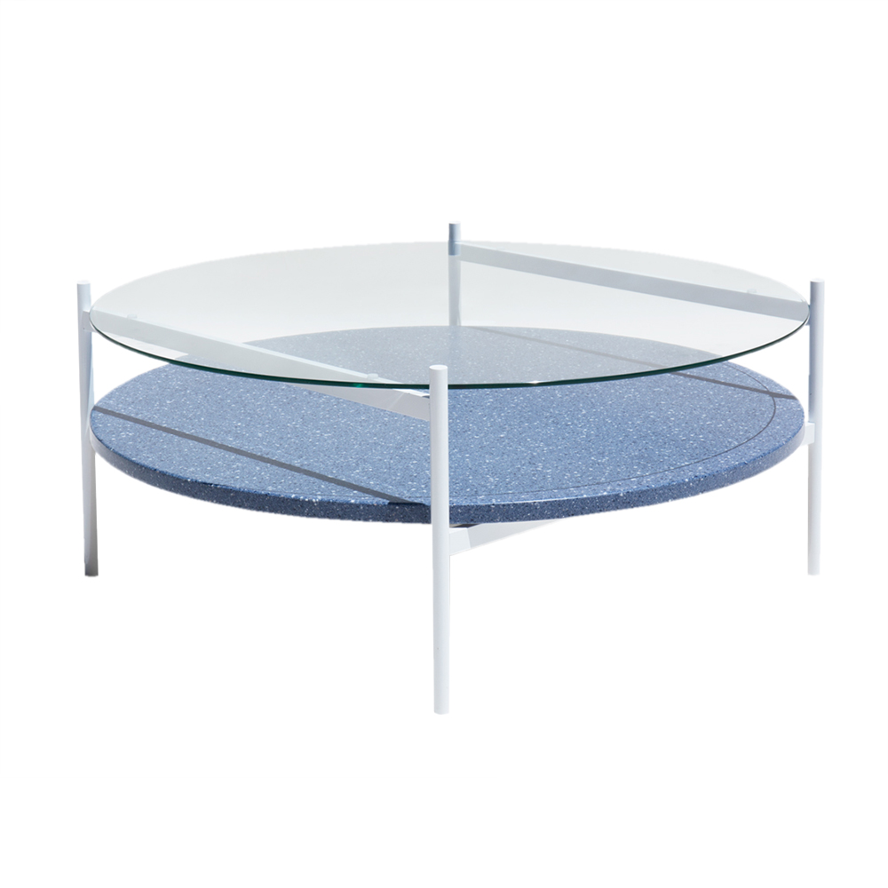 Duotone Coffee Table   Round White, Clear Glass, Blue Mosaic