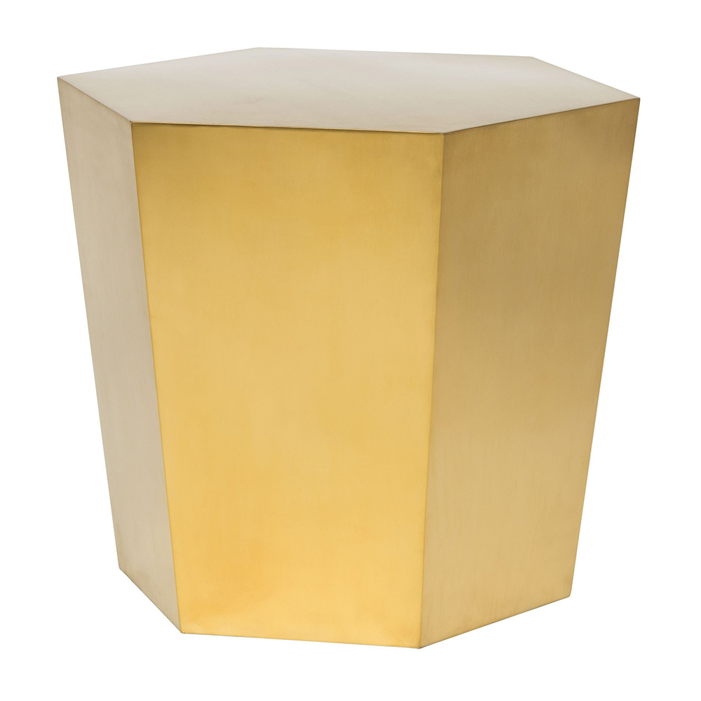 Hexa Tapered Side Table Brushed Gold Rouse Home - Brushed gold side table