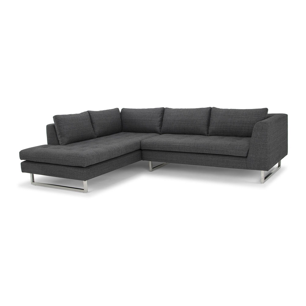 Janis Sectional Sofa Left Dark Gray Tweed