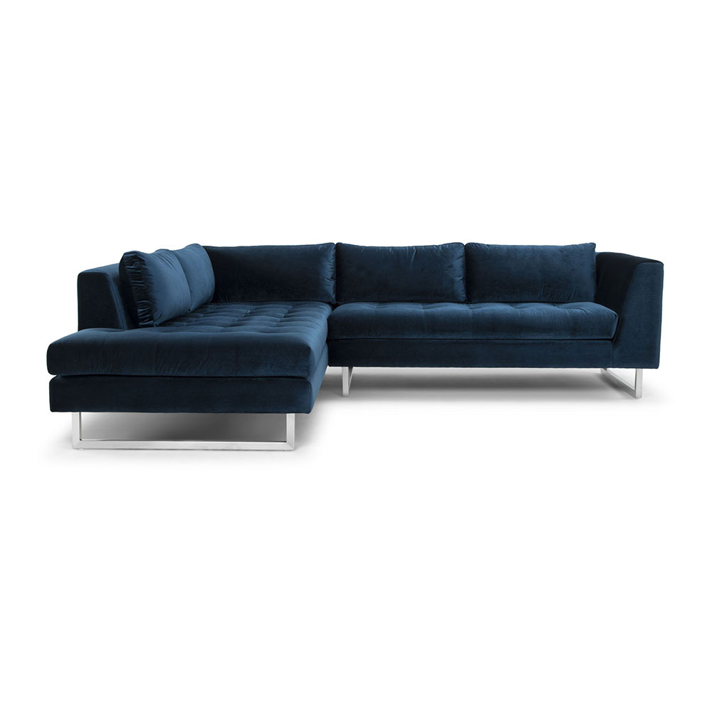 Janis Sectional Sofa Left Midnight Blue Rouse Home