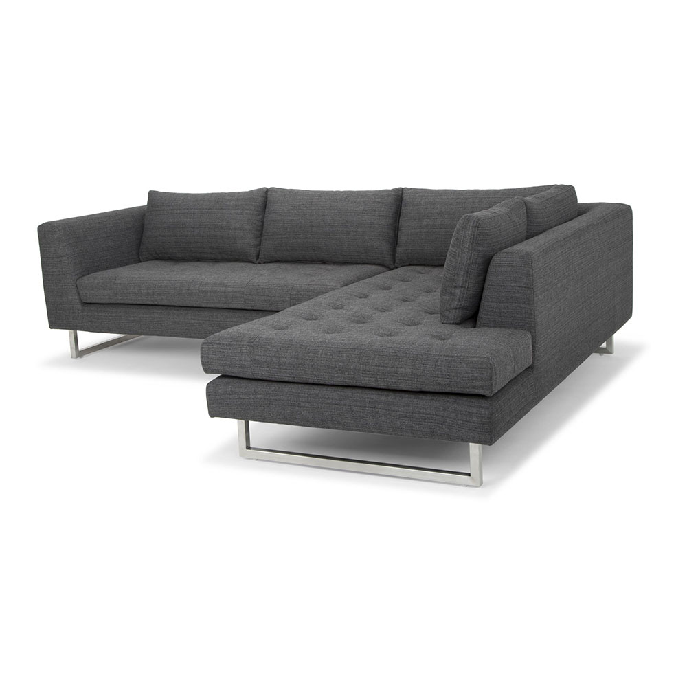 Janis Sectional Sofa Right Dark Gray Tweed