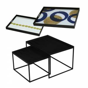 Tray Nesting Tables - Gold and Blue Halos and Dotted Line