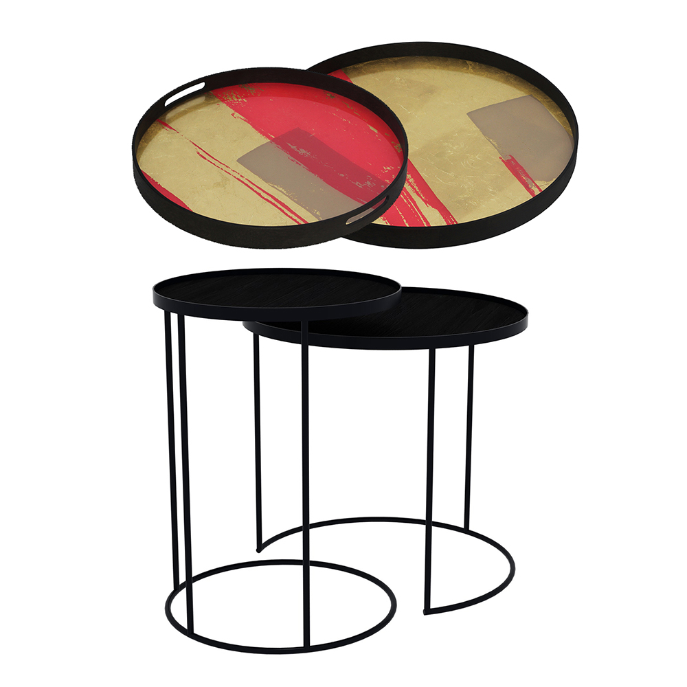 Astonishing Tray Nesting Tables High Round Raspberry Abstract And Raspberry Composition Home Interior And Landscaping Pimpapssignezvosmurscom