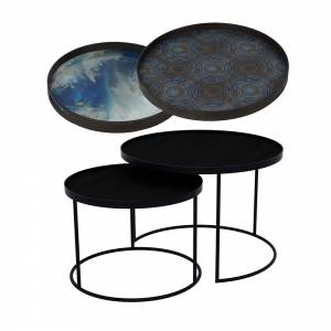 Tray Nesting Tables Low Round - Blue Mist and Seaside Beads