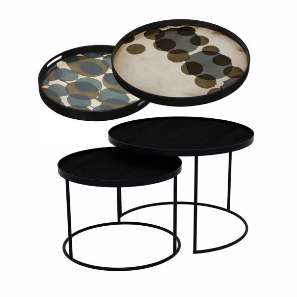 Tray Nesting Tables Low Round - Connected Dots and Slate Layered Dots