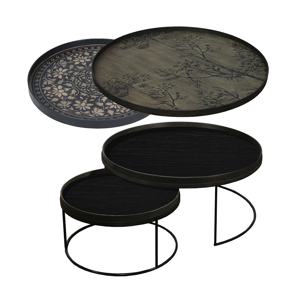 Tray Nesting Tables Low Round Xl Black Marrakesh And Dill