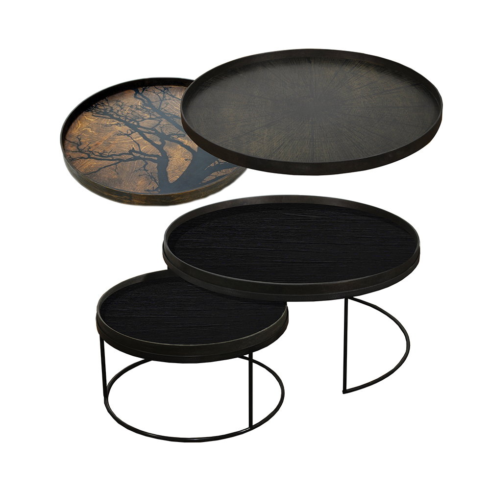 Tray Nesting Tables Low Round Xl Black Tree And Slice