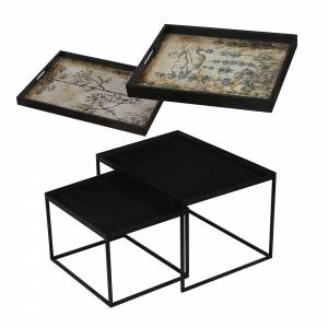 Tray Nesting Tables - Wildflowers and Slate Dill