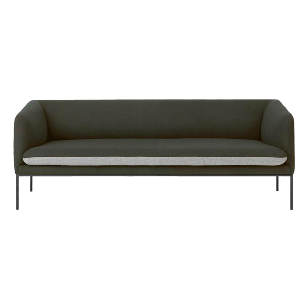 Turn 3 Seat Sofa - Dark Green and Light Gray Wool