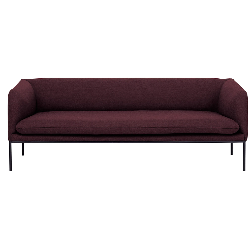 Turn 3 Seat Sofa Solid Bordeaux Wool