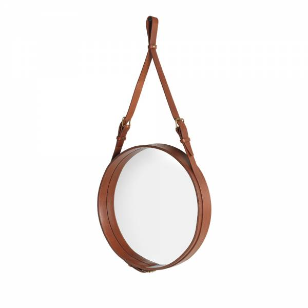 Adnet Round Wall Mirror - Tan