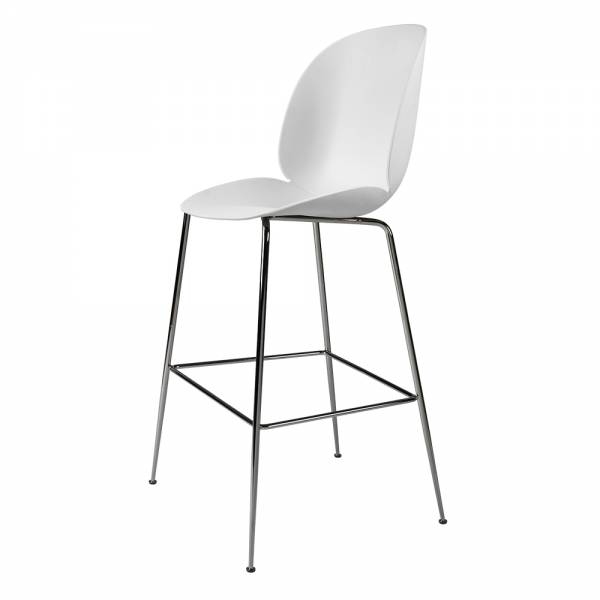 Beetle Counter Chair - White, Black Chrome