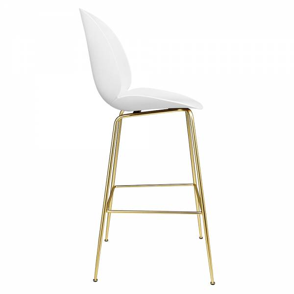 Beetle Counter Chair - White, Brass